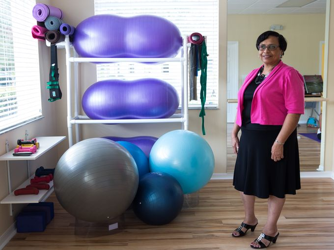 Kay with therapy equipment