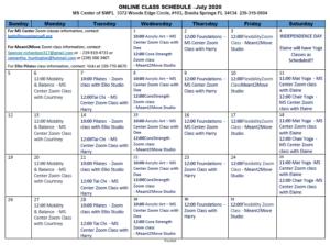 July Event Calendar